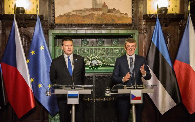 Prime Minister Jüri Ratas (Centre) and Czech Prime Minister Andrej Babiš in Prague on Friday. 23 November 2018.