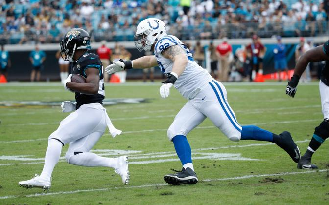 Margus Hunt (92) in action against the Jacksonville Jaguars in a previous game a little over a year ago.