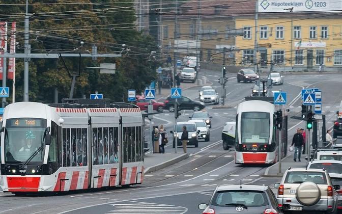 Trams in Tallinn.