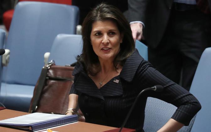 USA suursaadik Nikki Haley ÜRO julgeolekunõukogu Lähis-Ida istungil.