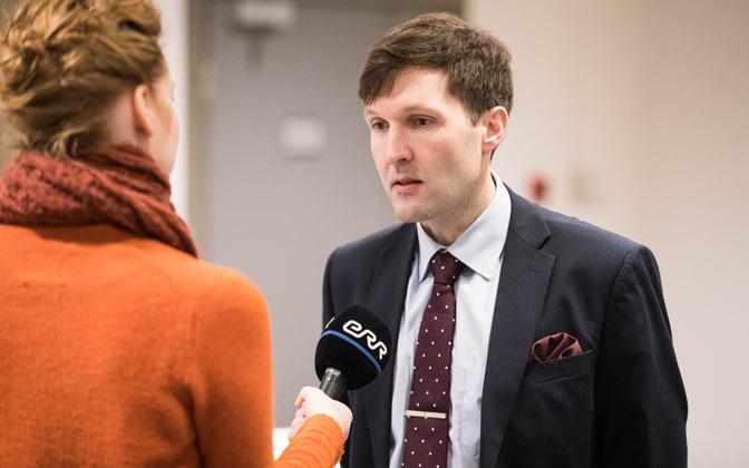 Martin Helme talking to ERR at a recent EKRE council meeting.