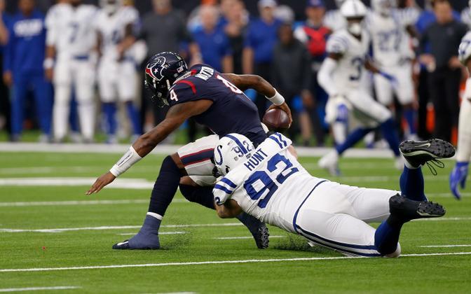 Margus Hunt brings down Texans' QB Deshaun Watson at Saturday's playoff clash.