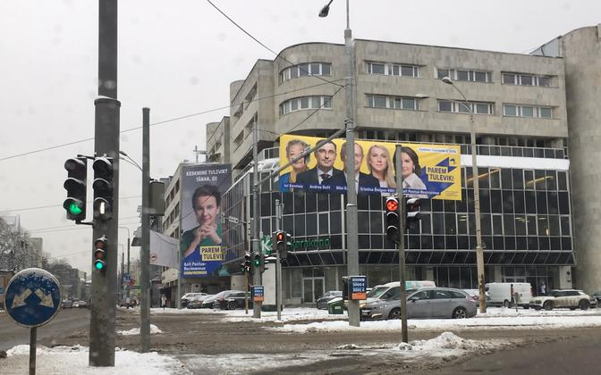 Reform Party election ads surrounding the Centre Party's new office on Narva Highway in Tallinn.