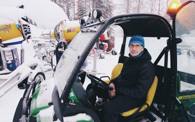 Tiit Tammemäe, the sport facilities manager at Tehvandi Sports Center, stops briefly in front of the snow cannons used to produce artificial snow. Friday, 11 January 209.