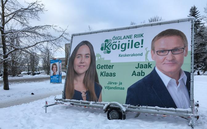 An example of pre-election outdoor advertising, in this case from Centre (foreground) and Pro Patria (background).