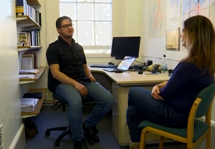 Academic Mart Kuldkepp talking to ERR at UCL in London.