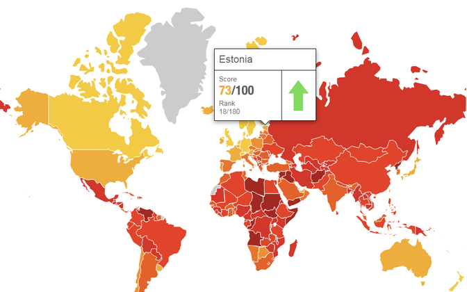 Transparency International places Estonia at 18th in the world on its corruption perceptions index.