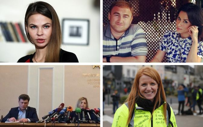 Valgevene modell Anastassia Vašukevitš (AP), mõrvakahtlustuse saanud senaator Arašukov ja teletäht Kandelaki (sotsiaalmeedia), Poklonskaja foto, millest sai meem (Kazafirst), kollavest Ingrid Levavasseur (AP).