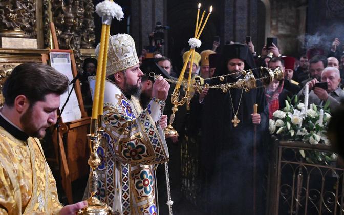 Metropoliit Epifanius 3. veebruaril Kiievis Sofia peakirikus.