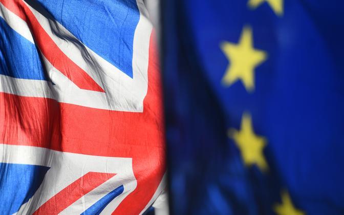 Suurbritannia ja Euroopa Liidu lipp Londonis.
