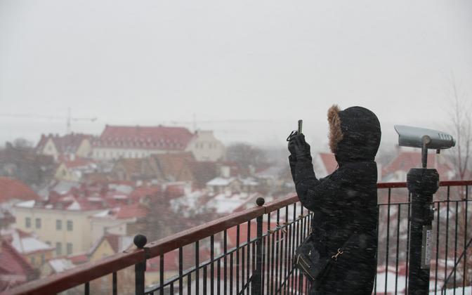 Sleet in Tallinn's Old Town.