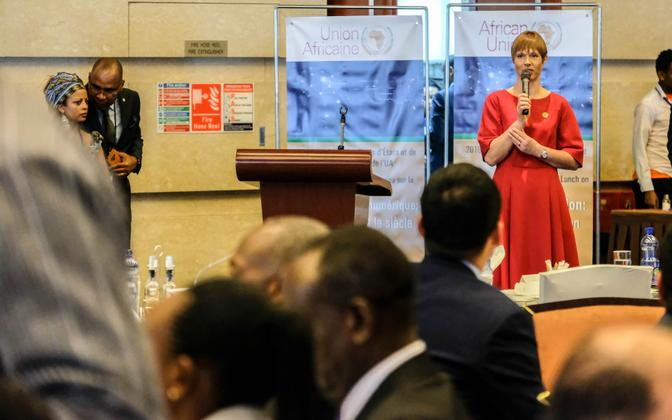 President Kersti Kaljulaid speaking at the African Union Assembly in Addis Ababa.