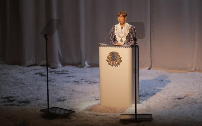 President Kersti Kaljulaid delivering her Independence Day speech at Estonia Theatre on Sunday evening. 24 February 2019.