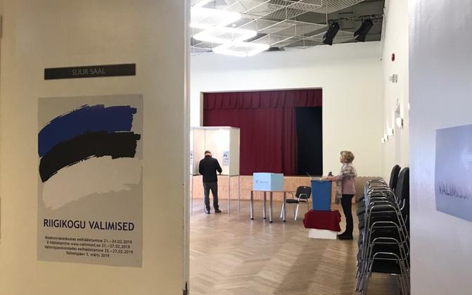 Polling station in Laagri early on Sunday morning.