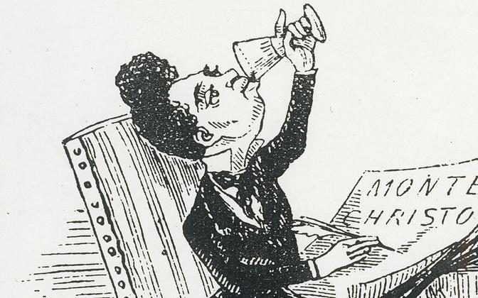 Alexandre Dumas. Karikatuur. Autor teadmata. U 1857.
