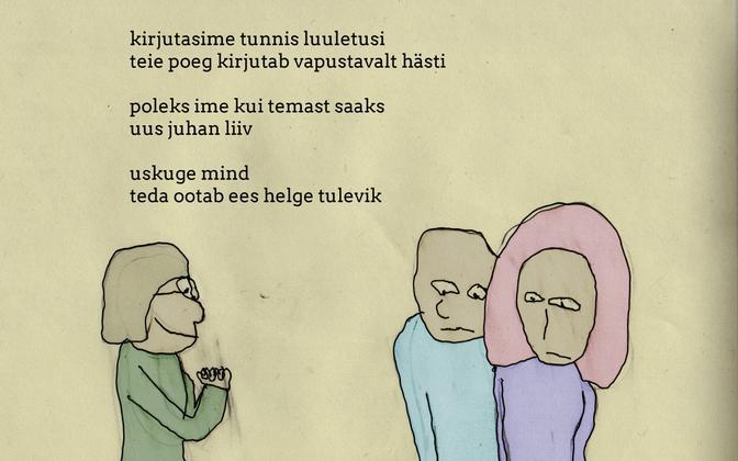 """Joonas Veelmaa karikatuur """"Juhan Liiv""""."""