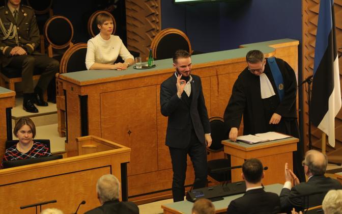 Ruuben Kaalep Riigikogu XIV koosseisu avaistungil pärast ametivande andmist.