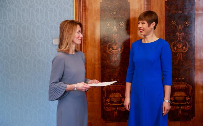 President Kersti Kaljulaid (right) with Reform Party leader Kaja Kallas earlier in the year. The president nominated Kallas prime minister following the March general election, but her coalition failed to pass a Riigikogu vote.