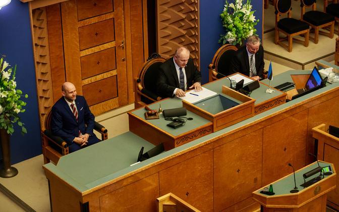 Riigikogu praegune juhatus: esimees Henn Põlluaas ning aseesimehed Helir-Valdor Seeder ja Siim Kallas.