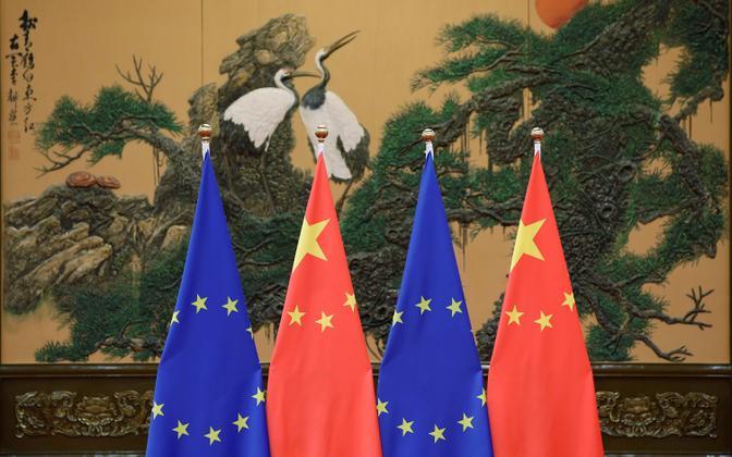 Euroopa Liidu ja Hiina lipud.