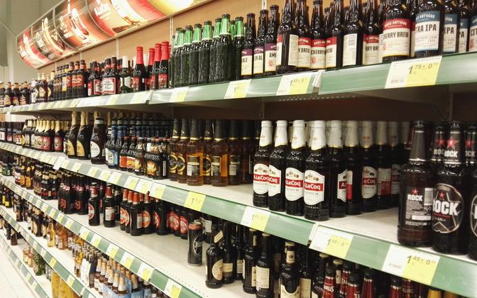 Alcohol shelves in a store.