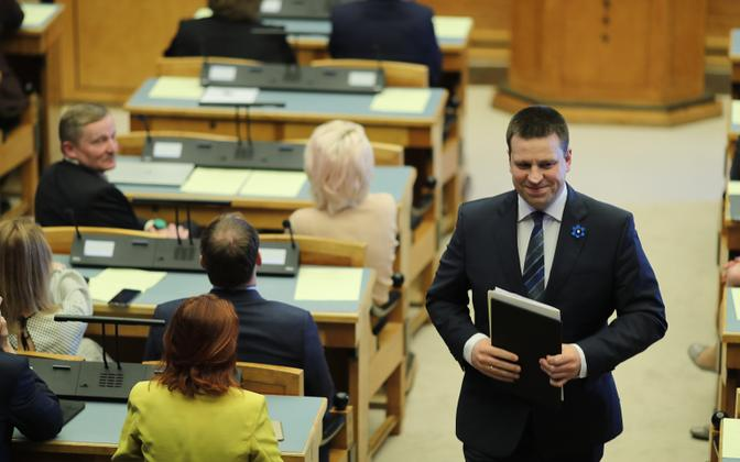 Jüri Ratas addressed the Riigikogu at length before receiving the votes authorising him to form Estonia's next government on Wednesday. 17 April 2019.