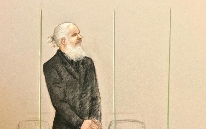 Kohtujoonistus Julian Assange'ist.