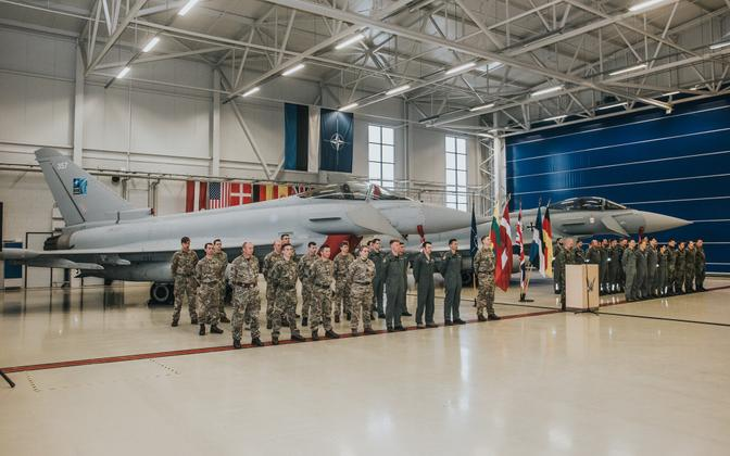 Official handover ceremony Thursday, with RAF Eurofighter Typhoons (left) replacing the same type of plane, in German service.