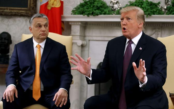 Viktor Orban ja Donald Trump Valges Majas.