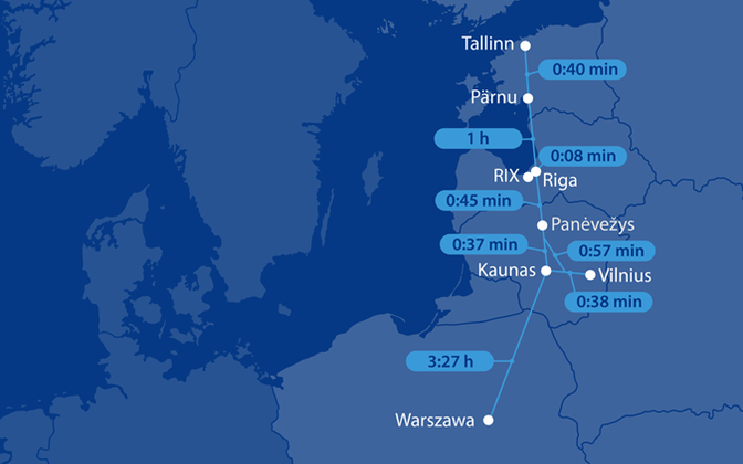 Rail Baltic Estonia's map indicating travel times between potential stops on the railway.