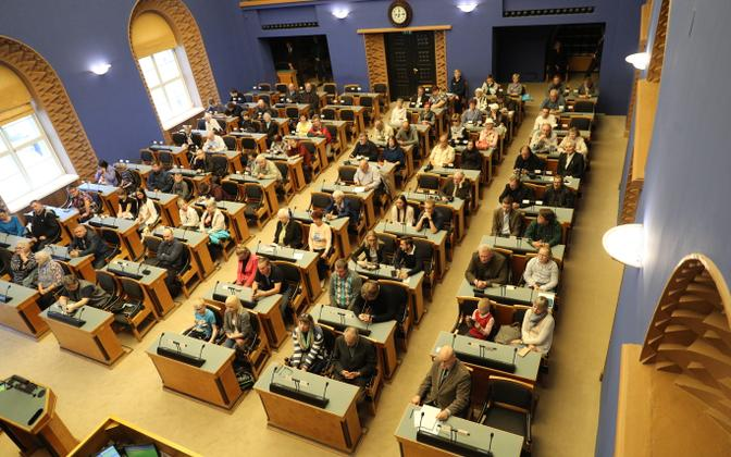 The Riigikogu's main chamber. Five parties are represented here at present.