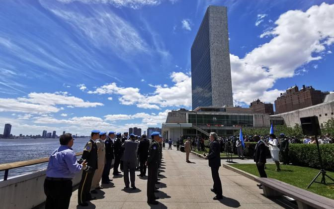 Ceremony taking place outside UN headquarters in New York.