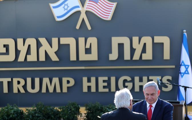 Benjamin Netanyahu pani uue asunduse nimeks Trumpi kõrgendikud.