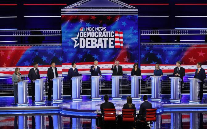 Marianne Williamson, John Hickenlooper, Andrew Yang, Pete Buttigieg, John Biden, Bernie Sanders, Kamala Harris, Kirsten Gillibrand, Michael Bennet ja Eric Swalwell NBC televäitluses.
