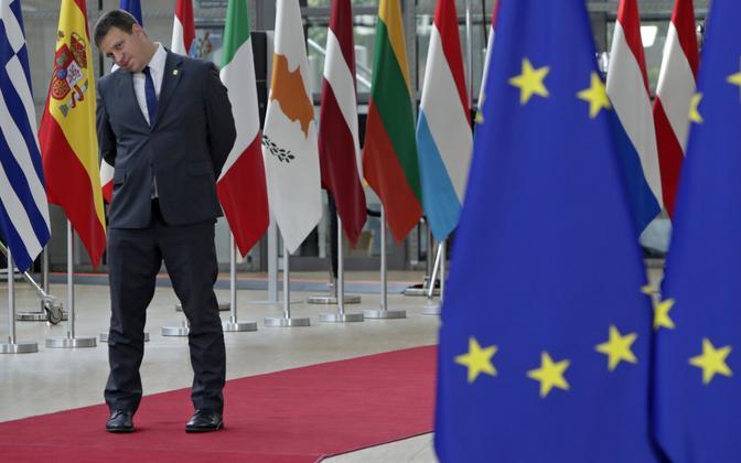 Estonian Prime Minister Jüri Ratas (Centre), during Sunday's marathon EU leaders' summit in Brussels.