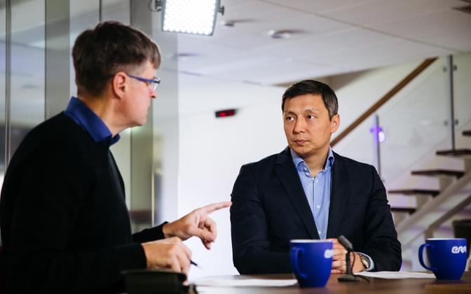 Mihhail Kõlvart (right) appearing on Wednesday morning's ERR current affairs show