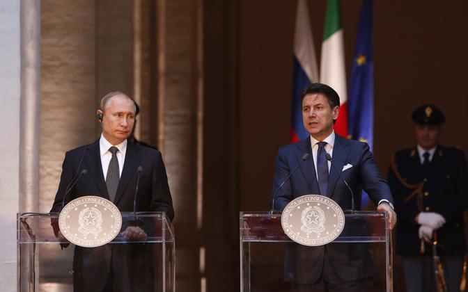 Putin ja Conte neljapäeval Roomas ühisel pressikonverentsil.