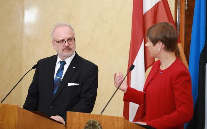 President of Latvia Egils Levits together with Estonian president Kersti Kaljulaid.