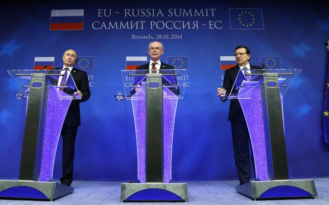 Viimane EL-Venemaa tippkohtumine peeti Brüsselis 2014. aasta 28. jaanuaril Brüsselis. Pressikonverenstil on Vene president Vladimir Putin, tollased Euroopa Ülemkogu president Herman Van Rompuy ja Euroopa Komisjoni president Jose Manuel Barroso.
