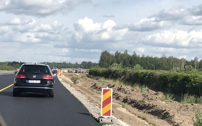 Пробка на шоссе Таллинн-Тарту.