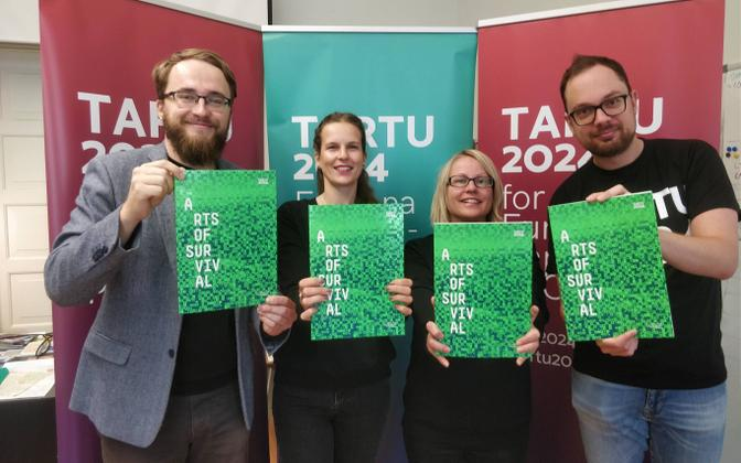 Kalle Paas, Triin Pikk, Merje Laimets and Kaspar Aug from the Tartu 2024 candidacy team holding the bid books presented to the international jury of European Capitals of Culture. The candidacy team also includes Erni Kask, Annela Laaneots and Berk Vaher.