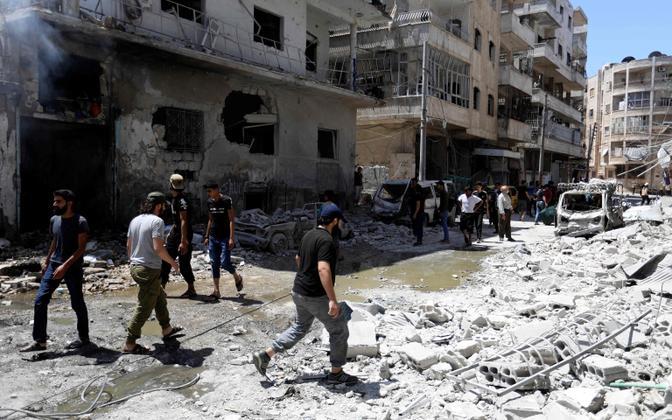 Purustused Idlibi provintsis Ariha linnas.