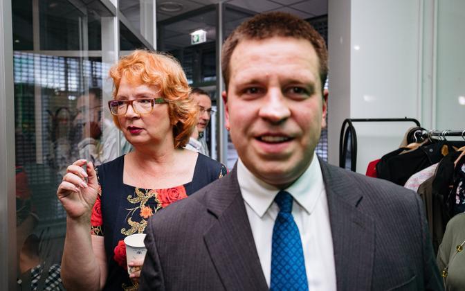 Yana Toom and Jüri Ratas at Centre's election party, May 26, 2019.
