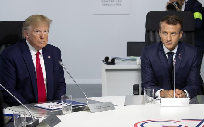 Trump ja Macron G7 tippkohtumisel.