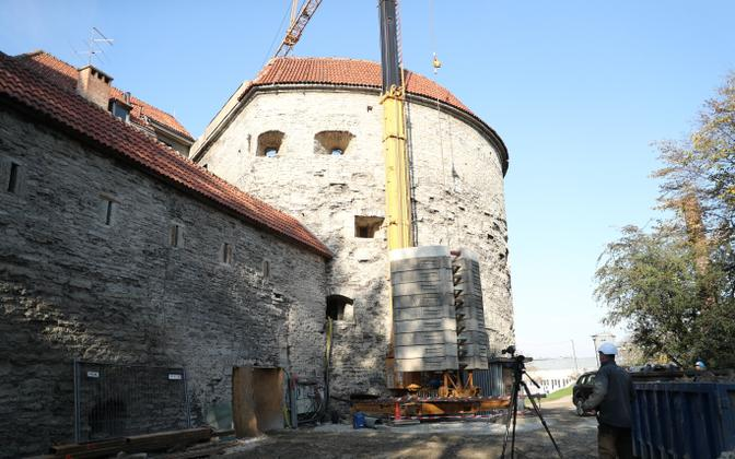 Renovation work underway at Fat Margaret Tower in Tallinn.