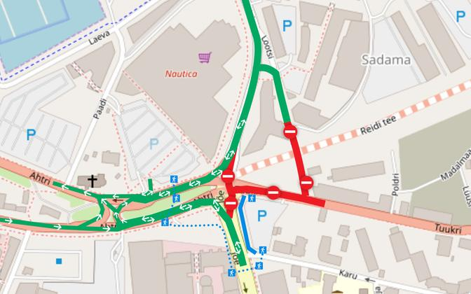 Liiklusskeem, mis hakkab kehtima 5. septembri hilisõhtust.