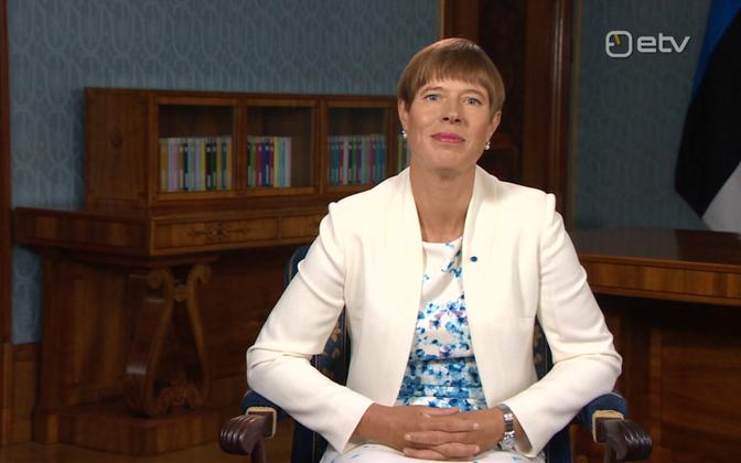 President Kersti Kaljulaid addressing school children, as well as those returning to education, at the start of the new school year.