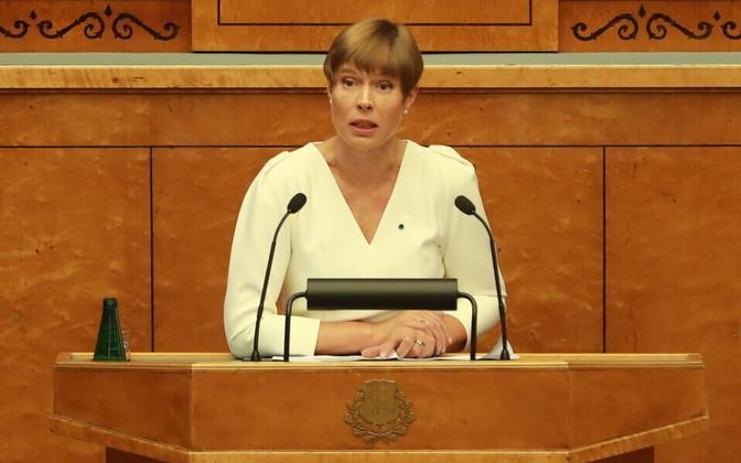 Президент Керсти Кальюлайд на открытии осенней сессии Рийгикогу.
