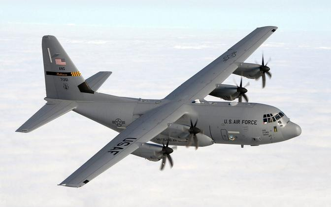 U.S. Air Force Lockheed Martin C-130JHerculesaircraft from the 135th Airlift Squadron, 175th Wing, Maryland Air National Guard, similar to the plane on exercise over Estonia at the weekend.