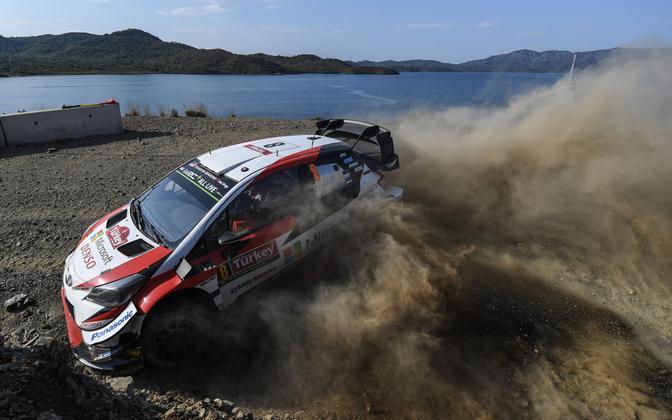 Ott Tänak's Toyota Yaris at Rally Turkey on Sunday.